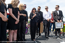 With her family at her side, Arlen's wife Beverly spoke to the crowd at the Arlen Ness Memorial - Celebration of Life at the Arlen Ness Motorcycles store. Dublin, CA, USA. Saturday, April 27, 2019. Photography ©2019 Michael Lichter.
