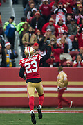 San Francisco 49ers cornerback Ahkello Witherspoon (23) gets fans pumped during the first quarter against the Jacksonville Jaguars at Levi's Stadium in Santa Clara, Calif., on December 24, 2017. (Stan Olszewski/Special to S.F. Examiner)