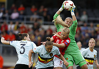 (170721) -- BREDA, July 21, 2017 -- Justien Odeurs (Top), goalie of Belgium, saves as Lisa-Marie Utland (3rd L) of Norway attacks during the UEFA Women s EURO 2017 soccer tournament Group A match between Belgium and Norway at the Rat Verlegh Stadium in Breda, the Netherlands, on July 20, 2017. <br /> Norway only<br /> Norge