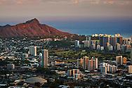 Sunset light on Diamond Head Crater and Waikiki, Honolulu, Oahu, Hawaii