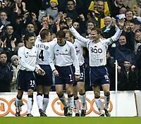 Photo. Aidan Ellis<br />Tottenham Hotspur v Sunderland . Barclaycard Premiership. 08/02/2003<br />Teddy Sheringham celebrates his career 300th goal and spurs 4th goal