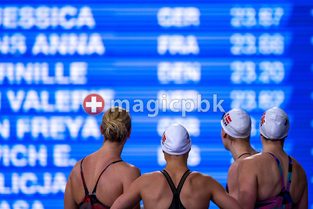 Denmark's women's 4x50m Freestyle Relay Team looks on the scoreboard after finishing third in the women's 4x50m Freestyle Relay Final during the 20th LEN European Short Course Swimming Championships in Glasgow, Great Britain, Friday, Dec. 6, 2019. (Photo by Patrick B. Kraemer / MAGICPBK)