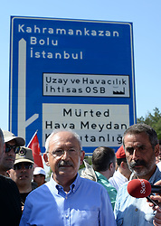 June 16, 2017 - Ankara, Türkiye - The leader of Turkey's main opposition party The Republican People's Party (CHP) leader Kemal Kilicdaroglu  is on the 2nd day of ''Justice March'' from Ankara to Istanbul, a 430 km long march. Kilicdaroglu  launched a 400-kilometer march from Ankara to Istanbul Thursday, a day after one of its deputies was given a a prison sentence on espionage charges. The Republican People's Party (CHP) leader Kemal Kilicdaroglu, joined by several thousand protesters, began the ''Justice March'' from the Guvenpark at the Kızılay Square in central Ankara. The march came as a protest after CHP's Istanbul deputy Enis Berberoglu was sentenced to 25 years in jail for leaking secret documents to the press in the controversial National Intelligence Organization (MIT) trucks case. Berberoglu was accused of supplying confidential footage of a raid on MIT trucks, carried out by the Gülenist terror group (FETO), to Cumhuriyet daily's former editor-in-chief Can Dundar and its Ankara representative Erdem Gul. (Credit Image: © Depo Photos via ZUMA Wire)