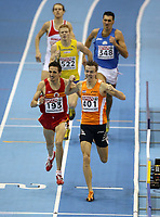 Photo: Rich Eaton.<br /> <br /> EAA European Athletics Indoor Championships, Birmingham 2007. 04/03/2007. Arnoud Okken #401 of Holland wins gold in the mens 800m final