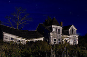 An abandoned house by night, Searsport, Maine.