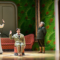 Picture shows :Kate Val entine (white dress) as Karolina and Jane Irwin (black dress) as Ane?ka. David Pomeroy as Ladislav Podhajsky(seated) Nicholas Folwell as Mumlal..Picture  ©  Drew Farrell Tel : 07721 ?735041.THE TWO WIDOWS by  Smetana.A SCOTTISH OPERA AND EDINBURGH INTERNATIONAL FESTIVAL CO-PRODUCTION.Premiering at the Edinburgh International Festival, this brand new production stars Scottish soprano Kate Valentine and internationally renowned mezzo Jane Irwin..The directorial partnership between Tobias Hoheisel and Imogen Kogge transforms this delicate comedy into something that digs deeper without losing its inherent charm. Francesco Corti conducts this, his first production as Music Director of Scottish Opera...Kate Valentine as Karolina Záleská.Jane Irwin as Ane?ka Miletinská?Nicholas Folwell as Mumlal?David Pomeroy as Ladislav Podhajsky?Ben Johnson as Toník, a peasant?Rebecca Ryan as Lidka, a maid.?Conductor..Francesco Corti.Directors ..         Tobias Hoheisel & Imogen Kogge.Designer..         Tobias Hoheisel.Lighting..         Peter Mumford.Choreographer  .Kally Lloyd-Jones.Dramaturg..Micaela von Marcard..Performances :.Edinburgh Festival Theatre?9 ? 11 ? 12  August?Theatre Royal, Glasgow?10 ?  14 ? 17 ? October?Note to Editors:  This image is free to be used editorially in the promotion of Scottish Opera and The Edinburgh International Festival. Without prejudice ALL other licences without prior consent will be deemed a breach of copyright under the 1988. Copyright Design and Patents Act  and will be subject to payment or legal action, where appropriate..Further further information please contact Kerryn Hurley Scottish Opera Press Manager t:   0141 242 0511. Or contact The Edinburgh International Festival Press Office  +44 (0)131 473 2020.