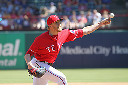 May 9, 2018 - Arlington, TX, U.S. - ARLINGTON, TX - MAY 09: Texas Rangers pitcher Jake Diekman (41) throws to the plate during the game between the Detroit Tigers and the Texas Rangers on May 9, 2018 at Globe Life Park in Arlington, TX. (Photo by George Walker/Icon Sportswire) (Credit Image: © George Walker/Icon SMI via ZUMA Press)