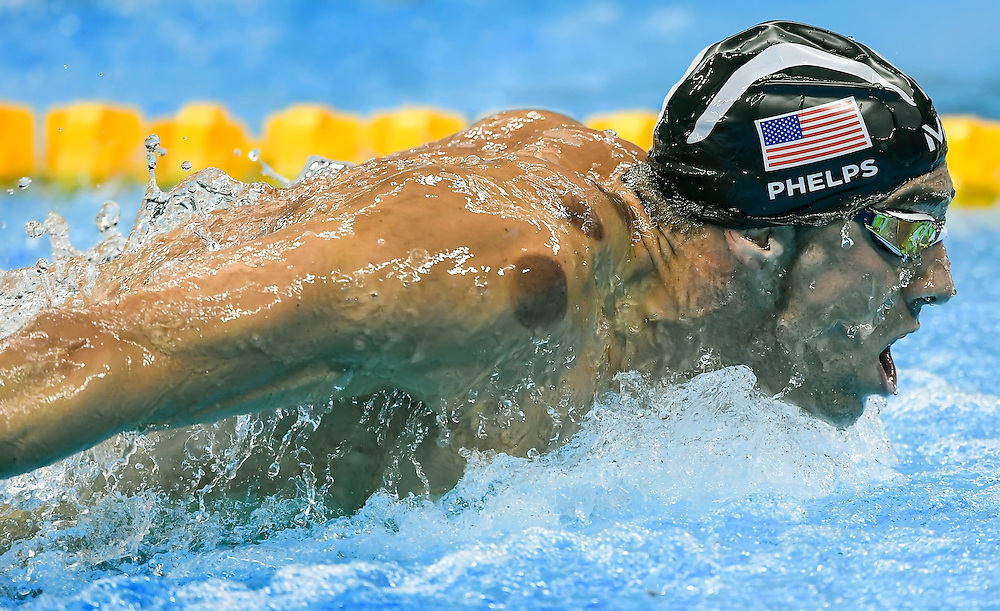 United States swimmer Michael Phelps advanced to the finals of the men's 200m butterfly semifinal  inside the Olympic Aquatics Stadium at the 2016 Summer Olympics Games in Rio de Janeiro, Brazil.