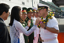 DA NANG, Vietnam (May 18, 2017) Capt. Stanfield Chien, mission commander of Pacific Partnership 2017, receives a wreath from Da Nang locals during the departure ceremony for Pacific Partnership 2017 in Da Nang, Vietnam. Pacific Partnership is the largest annual multilateral humanitarian assistance and disaster relief preparedness mission conducted in the Indo-Asia-Pacific and aims to enhance regional coordination in such as medical readiness and preparedness for manmade and natural disasters. (U.S. Navy photo by Mass Communication Specialist 2nd Class Chelsea Troy Milburn/Released) 170518-N-SF984-025<br /> Join the conversation:<br /> http://www.navy.mil/viewGallery.asp<br /> http://www.facebook.com/USNavy<br /> http://www.twitter.com/USNavy<br /> http://navylive.dodlive.mil<br /> http://pinterest.com<br /> https://plus.google.com