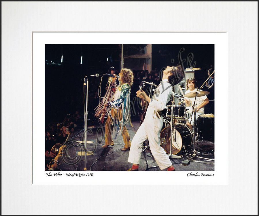 """The Who - An affordable archival quality matted print ready for framing at home.<br /> Ideal as a gift or for collectors to cherish, printed on Fuji Crystal Archive photographic paper set in a neutral mat (all mounting materials are acid free conservation grade). <br /> The image (approx 6""""x8"""") sits within a titled border. The outer dimensions of the mat are approx 10""""x12""""."""