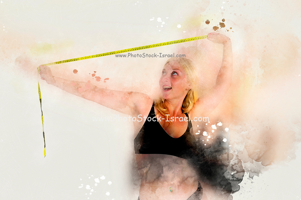 Digitally enhanced image of a Young woman laughing at a tape measure. She has overcome compulsive body analysis caused by body image disorder such as anorexia nervosa.