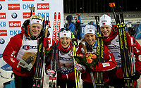 Skiskyting<br /> VM 2015<br /> Kontiolahti - Finland<br /> 05.03.2015<br /> Foto: Gepa/Digitalsport<br /> NORWAY ONLY<br /> <br /> Mix-stafett<br /> IBU World Championships, relay 2x6km ladies and 2x7.5km men, mixed team flower ceremony. Image shows Johannes Thingnes Bø, Fanny Welle-Strand Horn, Tiril Eckhoff and Tarjei Bø (NOR).