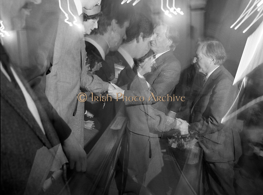 Removal of the Remains of Mr.George Colley..1983.19.09.1983.09.19.1983.19 September 1983..Image taken as Mr Charles Haughey offers his condolences to Mrs Colley.