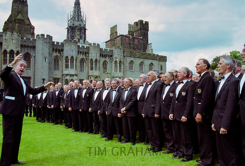 Traditional Welsh Male Voice Choir performing at Cardiff Castle, Wales, UK