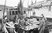 """9707-K248. written on original negative: """"fishing trip. South side."""" Fishermen on deck of boat. Unalaska. June 22-24, 1917 Alaska"""