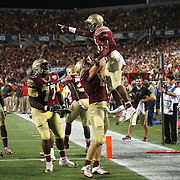 Florida State Seminoles wide receiver Kermit Whitfield (8) celebrates a touchdown during an NCAA football game between the Ole Miss Rebels and the Florida State Seminoles at Camping World Stadium on September 5, 2016 in Orlando, Florida. (Alex Menendez via AP)