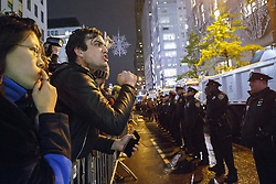 November 9, 2016 - New York, US, UK - New York, USA. Protesters argue with police officers as thousands of anti-Trump protesters march from Union Square to Trump Tower in New York City, on Wednesday, 9 November 2016 following the presidential election won by Donald Trump. (Credit Image: © Tolga Akmen/London News Pictures via ZUMA Wire)