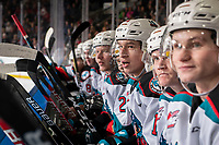KELOWNA, BC - FEBRUARY 28: Elias Carmichael #14 of the Kelowna Rockets sit on the bench after scoring a second period goal against the Everett Silvertips at Prospera Place on February 28, 2020 in Kelowna, Canada. (Photo by Marissa Baecker/Shoot the Breeze)