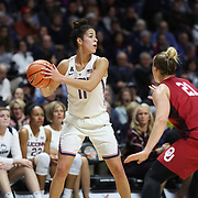 UNCASVILLE, CONNECTICUT- DECEMBER 19:  Kia Nurse #11 of the Connecticut Huskies in action during the Naismith Basketball Hall of Fame Holiday Showcase game between the UConn Huskies Vs Oklahoma Sooners, NCAA Women's Basketball game at the Mohegan Sun Arena, Uncasville, Connecticut. December 19, 2017 (Photo by Tim Clayton/Corbis via Getty Images)