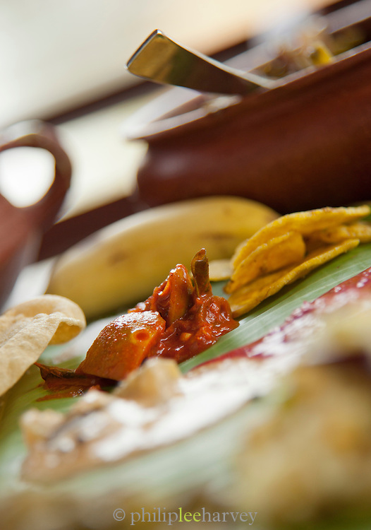 Lunch prepared on a house boat near Alappuzha in the Kerala Backwaters, India