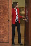 012616 Queen Letizia attends audiences at Zarzuela Palace