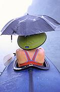 THAILAND, KHAO SOK NATIONAL PARK, KAYAKING TOURING,  Chiaw Lan Lake, true rainforest, Annie is holdig an umbrella in the rain
