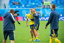 July 3, 2018 - St Petersburg, RUSSIA - 180703 Viktor Claesson and Ludwig Augustinsson of Sweden takes a picture with their phon as they celebrate after winning the FIFA World Cup round of 16 match between Sweden and Switzerland on July 3, 2018 in St Petersburg..Photo: Joel Marklund / BILDBYRÃ…N / kod JM / 87748 (Credit Image: © Joel Marklund/Bildbyran via ZUMA Press)