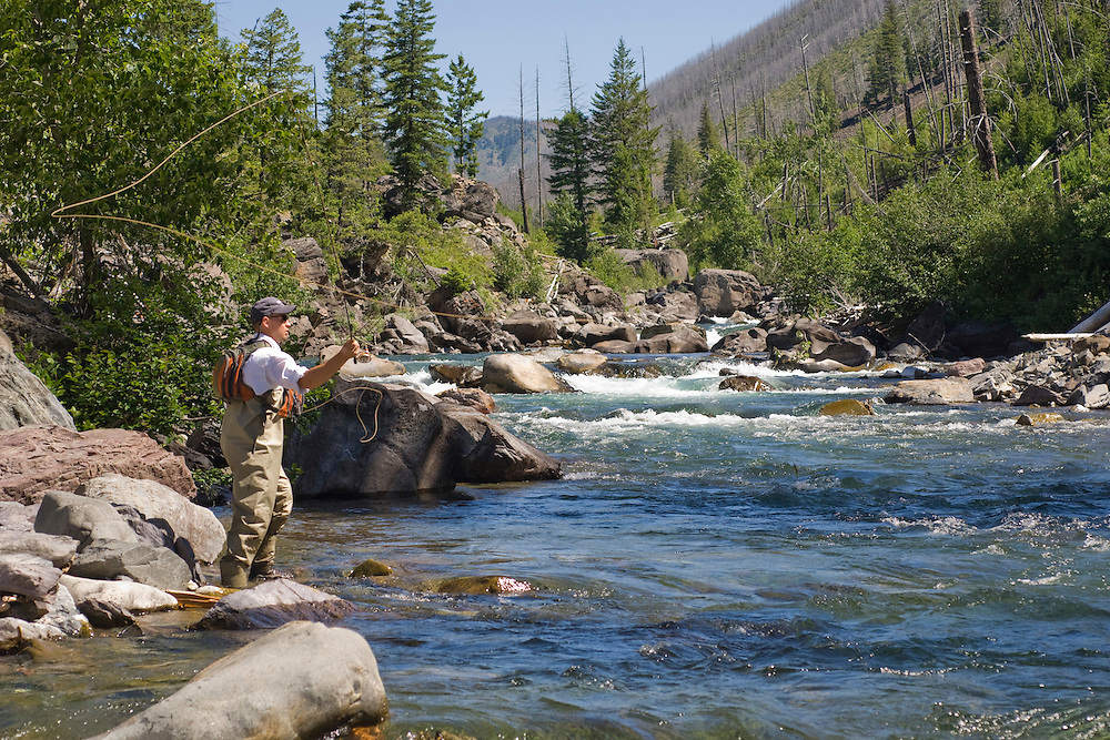 An angler fly fishing the North Fork of the Blackfoot River near Missoula Montana.