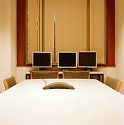 Office meeting room and monitors in London, United Kingdom.