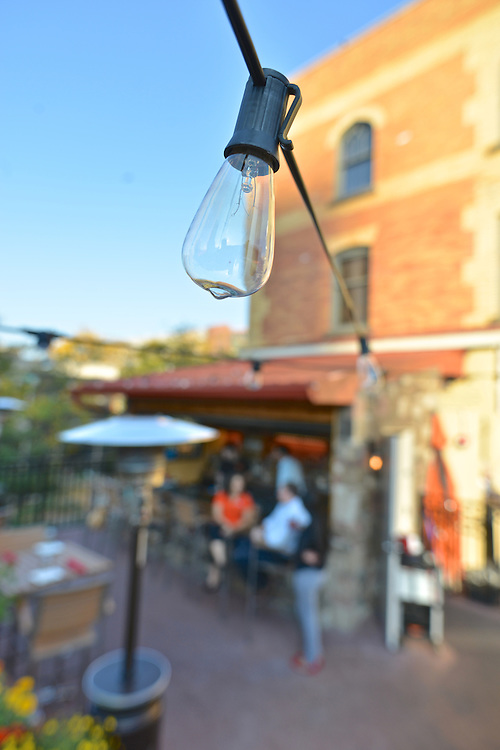 Outdoor lighting for the patio at Nuevo Modern Mexican & Tequila Bar.