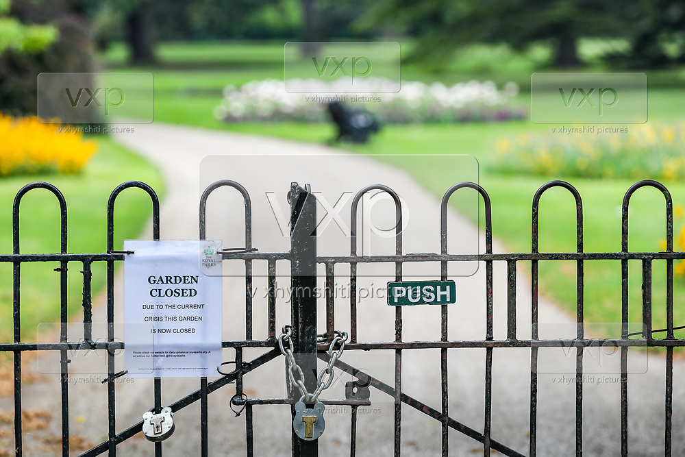 One of the Greenwich Garden is seen closed for people to access who have decided to exercise in Greenwich Park in London, Sunday, May 10, 2020, during the nation-wide coronavirus lockdown. (Photo/ Vudi Xhymshiti)