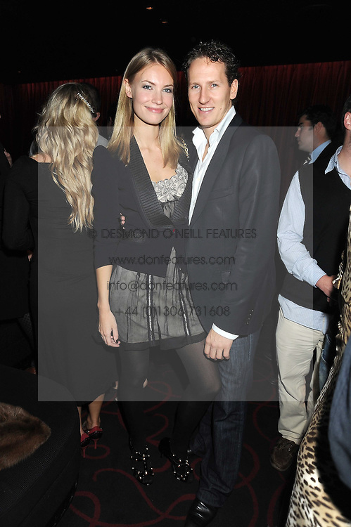 BRENDAN COLE and ZOE HOBBS at a private party following the first night of 'Fat Pig' held at L'Atelier, 13-15 West Street, London WC2 on 20th October 2008.