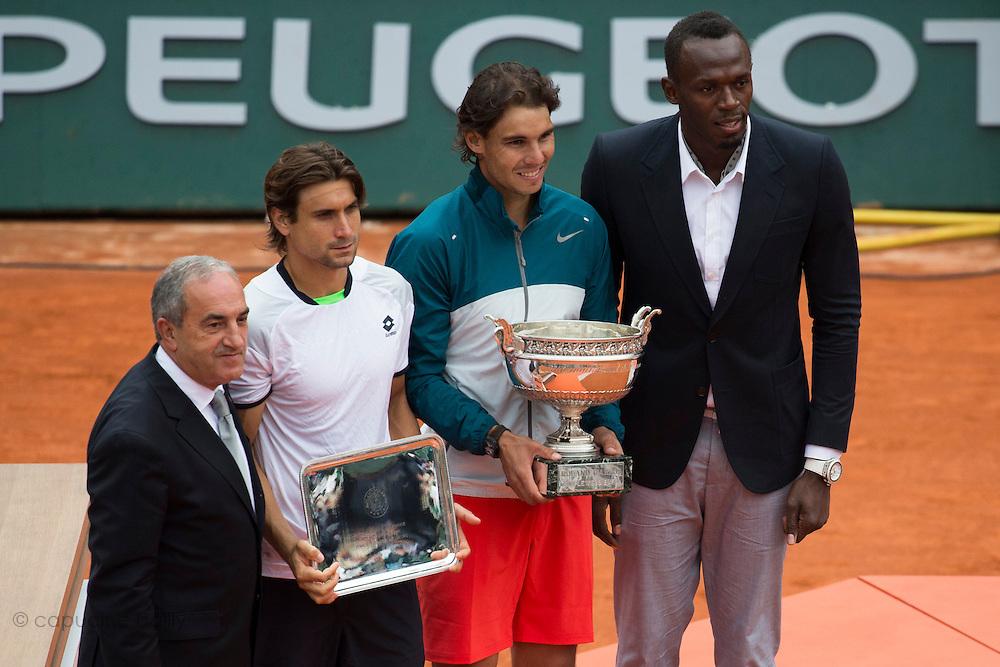 Paris, France. Roland Garros. June 9th 2013.<br /> Men's final. <br /> Spanish player Rafael NADAL wins Roland Garros for the 8th time, against David FERRER<br /> From left to right : Jean Gachassin, David Ferrer, Rafael Nadal, Usain Bolt