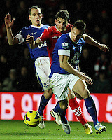 Southampton's Jay Rodriguez is blocled out by Everton's Phil Jagielka and Leon Osman...- Credit - CameraSport - James Marsh - ..Football - Barclays Premiership - Southampton v Everton - Monday 21st January 2013 - St Mary's - Southampton..