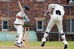 Cricket Wickersley v Whitley Hall,  Wickersley No 2 batsman  Headir Jounger and whitley hall wickett keeper Tom Soresby..12  May 2012.Image © Paul David Drabble