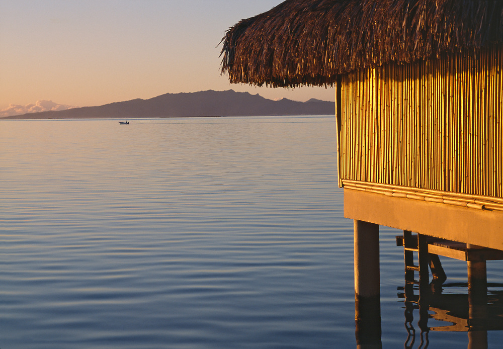 Overwater Bungalow at sunset, Bora Bora, Society Islands, South Pacific