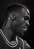 Detroit, MI --  Chicago Bull's MIchael Jordan against the Detroit Piston in playoff action. -- Photo by Jack Gruber
