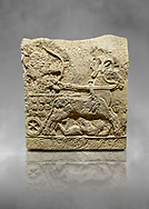 Hittite relief sculpted orthostat stone panel of Long Wall Basalt, Karkamıs, (Kargamıs), Carchemish (Karkemish), 900 - 700 BC. Anatolian Civilizations Museum, Ankara, Turkey.<br /> <br /> Chariot. One of the two figures in the chariot holds the horse's headstall while the other throws arrows. There is a naked enemy with an arrow in his hip lying face down under the horse's feet. It is thought that this figure is depicted smaller than the other figures since it is an enemy soldier. The tower part of the orthostat is decorated with braiding motifs.<br /> <br /> On a grey art background. .<br />  <br /> If you prefer to buy from our ALAMY STOCK LIBRARY page at https://www.alamy.com/portfolio/paul-williams-funkystock/hittite-art-antiquities.html  - Type  Karkamıs in LOWER SEARCH WITHIN GALLERY box. Refine search by adding background colour, place, museum etc.<br /> <br /> Visit our HITTITE PHOTO COLLECTIONS for more photos to download or buy as wall art prints https://funkystock.photoshelter.com/gallery-collection/The-Hittites-Art-Artefacts-Antiquities-Historic-Sites-Pictures-Images-of/C0000NUBSMhSc3Oo