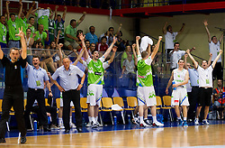 Team of Slovenia celebrate during basketball match between National teams of Slovenia and Spain in Qualifying Round of U20 Men European Championship Slovenia 2012, on July 18, 2012 in Domzale, Slovenia. Slovenia defeated Spain 70-63. (Photo by Vid Ponikvar / Sportida.com)