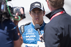 April 30, 2018 - Indianapolis, IN, U.S. - INDIANAPOLIS, IN - APRIL 30: Takuma Sato being interviewed during an Open Test on April 30, 2018, at the Indianapolis Motor Speedway in Indianapolis, IN. (Photo by James Black/Icon Sportswire) (Credit Image: © James Black/Icon SMI via ZUMA Press)