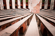India, Delhi. Jantar Mantar, the famous collection of astronomical instruments built in the 18th century by the Mughals.