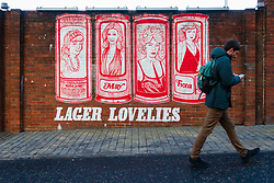 Tennent's lager mural featuring LagerLovelies painted on wall at Tennent Caledonian Breweries  Wellpark Brewery in Glasgow, Scotland, UK