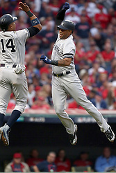 October 6, 2017 - Cleveland, OH, USA - The New York Yankees' Aaron Hicks, right, celebrates his three-run home run with Starlin Castro in the third inning against the Cleveland Indians during Game 2 of the American League Division Series, Friday, Oct. 6, 2017, at Progressive Field in Cleveland. (Credit Image: © Phil Masturzo/TNS via ZUMA Wire)