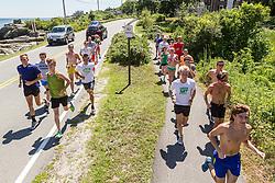 pre-race warmup run with Maine elites Geoghegan, Masters