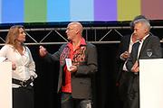 Winterpresentatie Publieke Omroepen in Studio 24 in Hilversum. Tijdens deze presentatie werd de nieuwe zenderindeling van Nederland 1-2 en 3 bekend gemaakt.<br /> <br /> Op de foto: Sacha de Boer , Rob Kamphuys, Jeroen Pauw en Paul Witteman