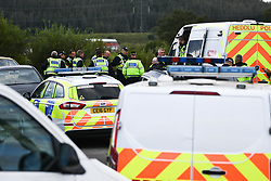 © Licensed to London News Pictures. 30/08/2020. City, UK. Police attend at illegal rave in the village of Banwen in South Wales. The event, which was held in forestry above the village was attended by an estimated 3000 people from all over the UK. The government recently strengthened the laws to fine organisers of the illegal parties £10,000. Photo credit: Robert Melen/LNP