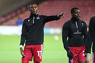 Scunthorpe United Abo Eise during warm up prior to  the EFL Sky Bet League 2 match between Scunthorpe United and Bolton Wanderers at the Sands Venue Stadium, Scunthorpe, England on 24 November 2020.