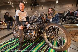 Masayuki Sugihara of Luck Motorcycles on his custom 1954 Harley-Davidson Panhead with Michael Barragan at the Mooneyes Yokohama Hot Rod & Custom Show. Yokohama, Japan. December 6, 2015.  Photography ©2015 Michael Lichter.