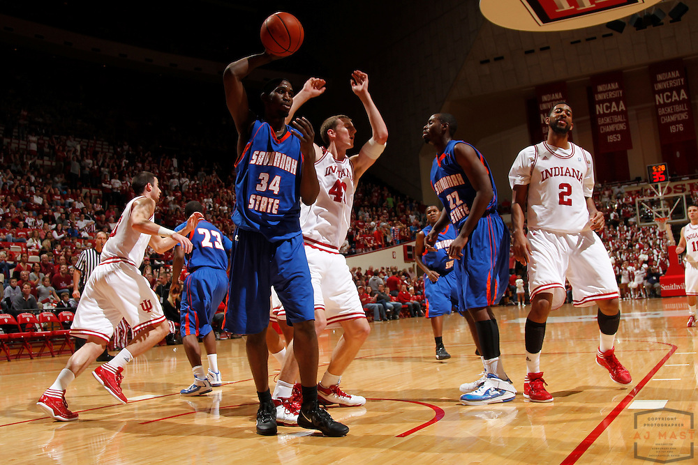 19 November 2011: Savannah State Tigers forward Arnold Louis (34)as the Indiana Hoosiers played the Savannah State Tigers in a college basketball game in Bloomington, Ind.