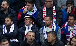 March 21, 2019 - Trnava, Slovakia - Slovak fans during the Slovakia and Hungary European Qualifying match at Anton Malatinsky Arena on March 21, 2019 in Trnava, Slovakia. (Credit Image: © Robert Szaniszlo/NurPhoto via ZUMA Press)